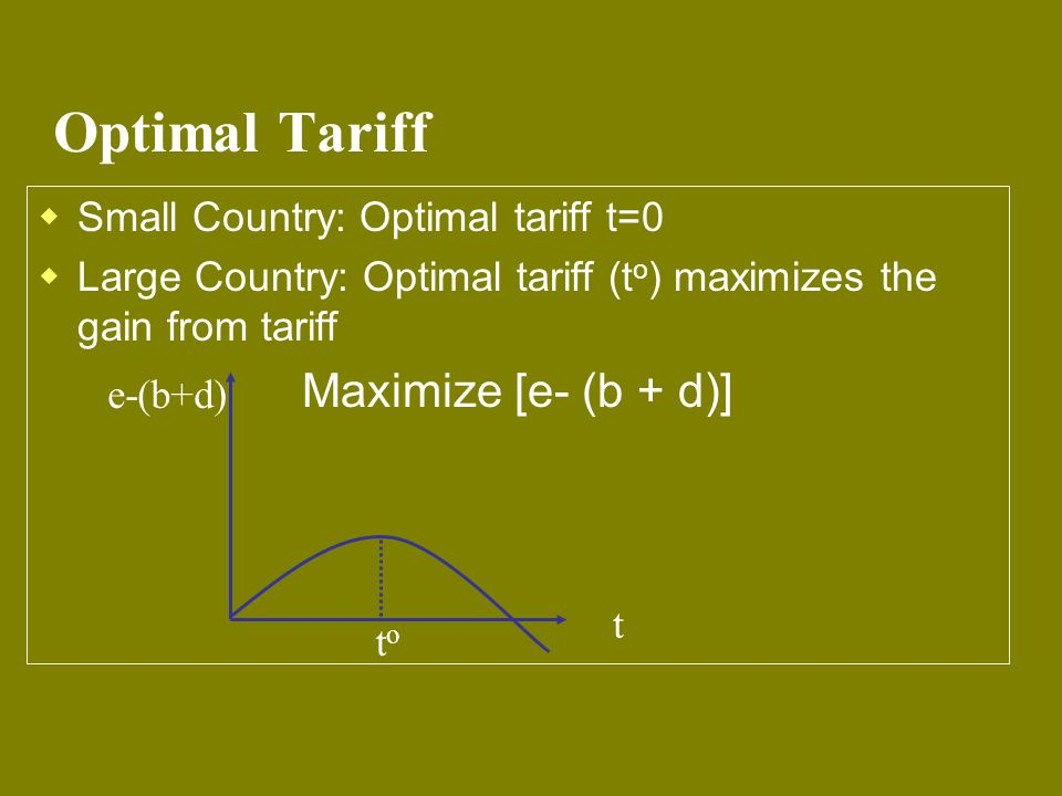 Optimal Tariff Maximize [e- (b + d)] Small Country: Optimal tariff t=0